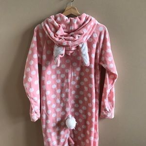 Joe boxer bunny pink with white dots footie pjs